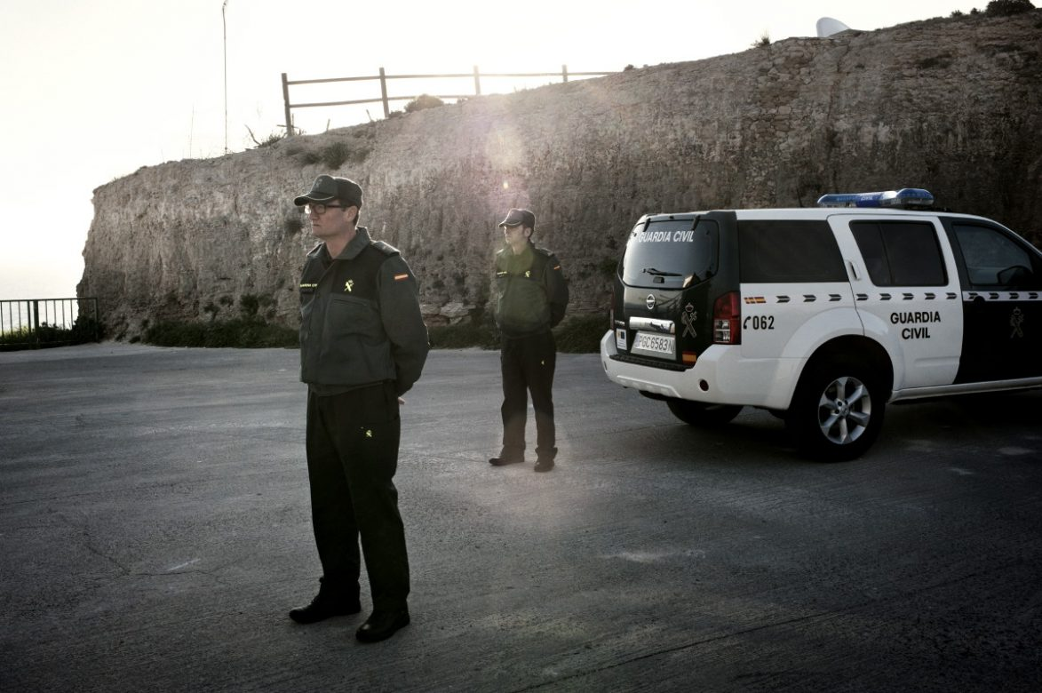 Civil guard officers patrolling the border. Melilla, Spain, 2012.
